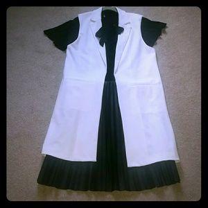 Notch Collared Longline Cream Vest
